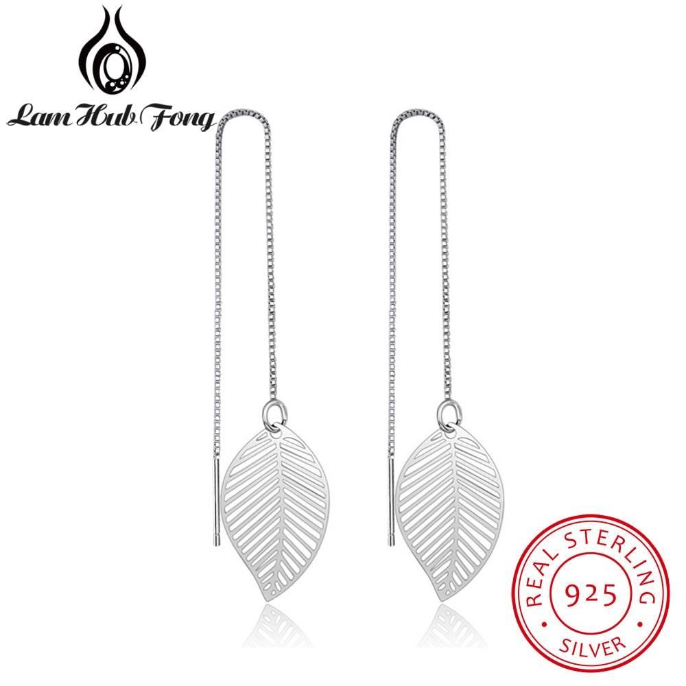 925 Sterling Silver Leaf Earrings for Women Girls Long Chain Tassel Drop Earring Brand Wedding Party Jewelry (Lam Hub Fong) Earrings Wedding & Engagement Jewelry