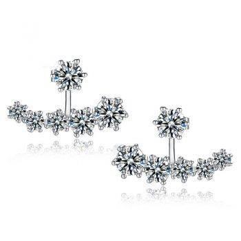 New Fashion 925 Sterling Silver Shiny Crystal Beads Neckband Stud Earrings for Women Wedding Bijoux Brincos Earrings