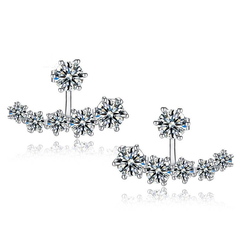 New Fashion 925 Sterling Silver Shiny Crystal Beads Neckband Stud Earrings for Women Wedding Bijoux Brincos Earrings