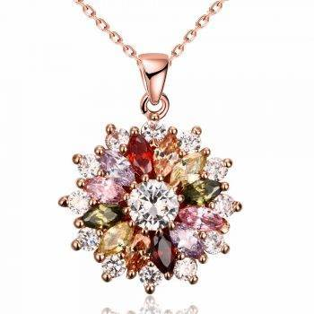 2019 New Luxury brand Fashion Jewelry Crystal from Swarovski Mona Lisa Colored Zircon Pendant Round Flower Moon Round Necklace Necklaces