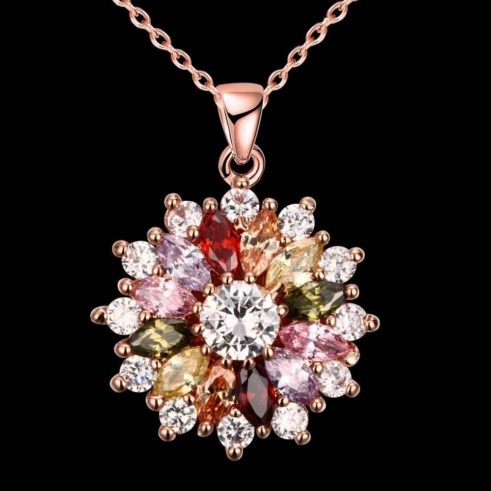 2019 New Luxury brand Fashion Jewelry Crystal from Swarovski Mona Lisa Colored Zircon Pendant Round Flower Moon Round Necklace Necklaces