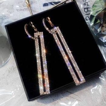 Fashion Long Geometric Drop Earrings Luxury Gold Silver Color Rectangle Rhinestone Earring for Women Party Jewelry Gift Earrings