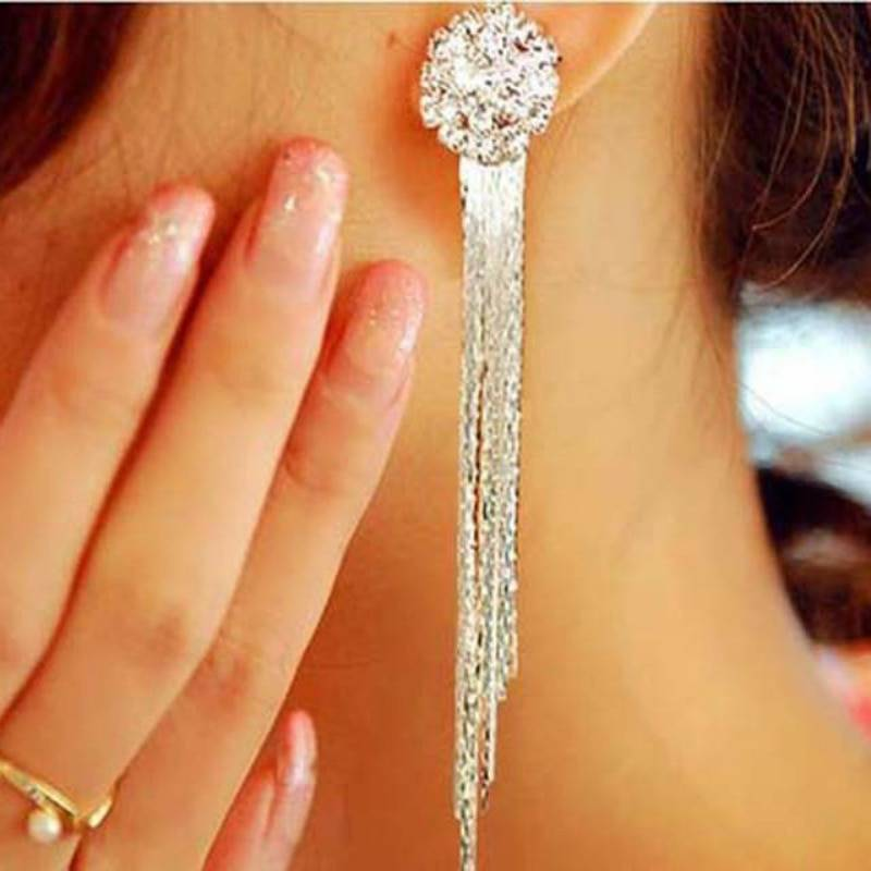 Fashion Jewelry Personality Temperament Crystal Tassel Earrings Bridal Earring Oorbellen Earrings For Women Long Earrings Earrings