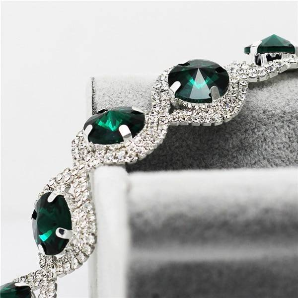 Fashion Wedding Bridal Jewelry Sets For Women Rhinestone Austrian Crystal Jewelry Set Bracelet Earrings Set Indian Accessories Jewelry Set Wedding & Engagement Jewelry