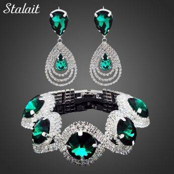 Fashion Wedding Bridal Jewelry Sets For Women Rhinestone Austrian Crystal Jewelry Set Bracelet Earrings Set Indian Accessories Jewelry Set Wedding & Engagement Jewelry