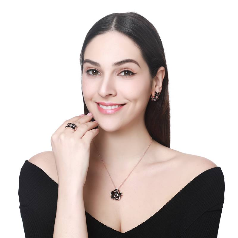 Fashion Rose Flower Enamel Jewelry Set Gold Color Black Painting Bridal Jewelry Sets for women 82606 Jewelry Set