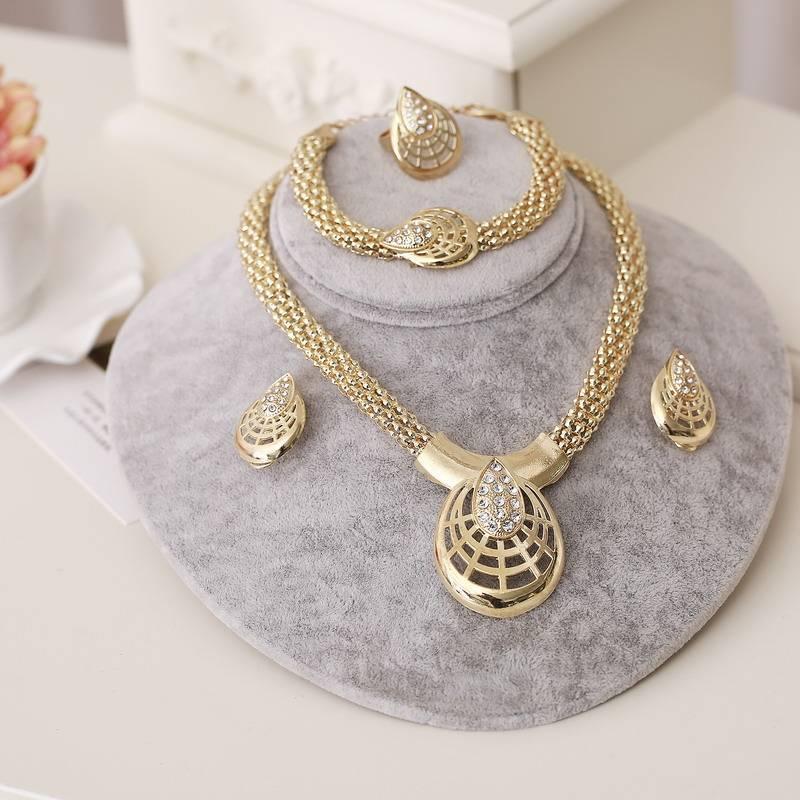 Dubai Gold Jewelry Sets Nigerian Wedding African Beads Crystal Bridal Jewellery Set Rhinestone Ethiopian Jewelry parure Jewelry Set