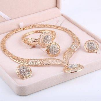 Dubai Gold Jewelry Sets Nigerian Wedding African Beads Crystal Bridal Jewellery Set Rhinestone Ethiopian Jewelry parure Jewelry Set