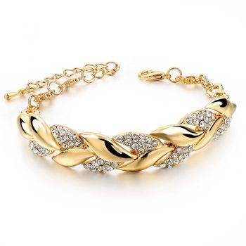 Braided Gold color Leaf Bracelets & Bangles With Stones Luxury Crystal Bracelets For Women Wedding Jewelry Bracelets Wedding & Engagement Jewelry