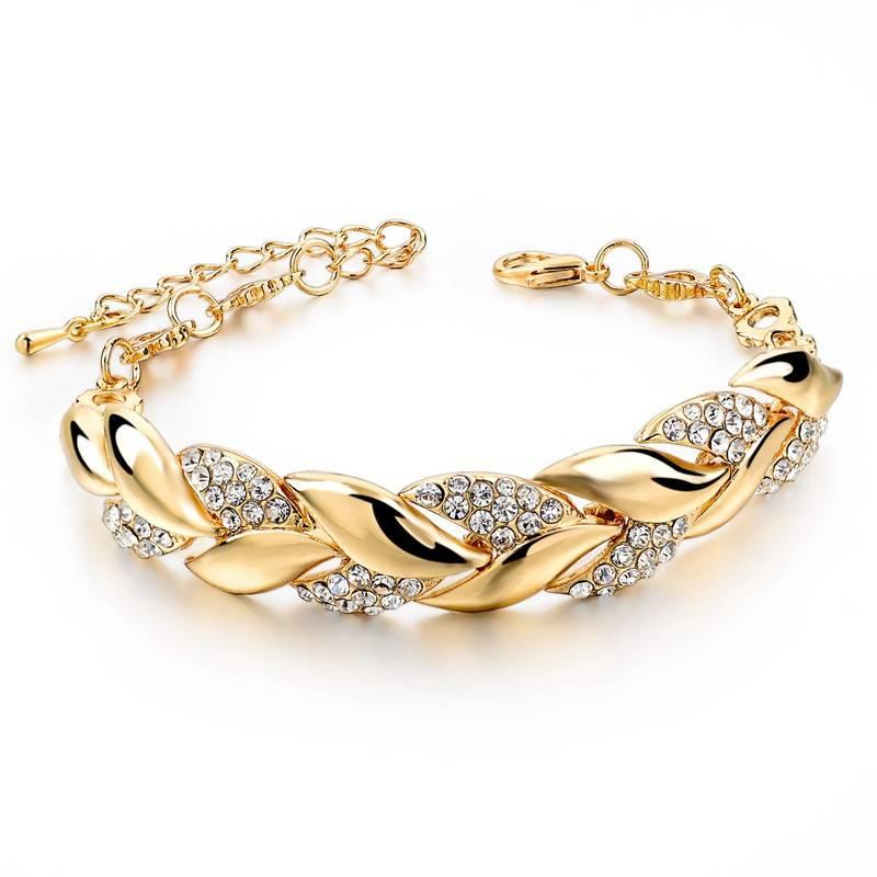 Braided Gold color Leaf Bracelets & Bangles With Stones Luxury Crystal Bracelets For Women Wedding Jewelry Bracelets Wedding & Engagement Jewelry