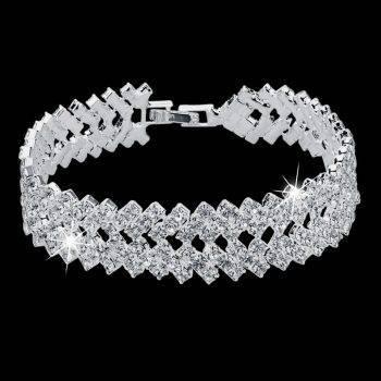 Luxury Crystal Bracelets For Women Silver color Bracelets & Bangles Femme Bridal Wedding Jewelry 2018 Vintage Bracelet Bracelets Wedding & Engagement Jewelry