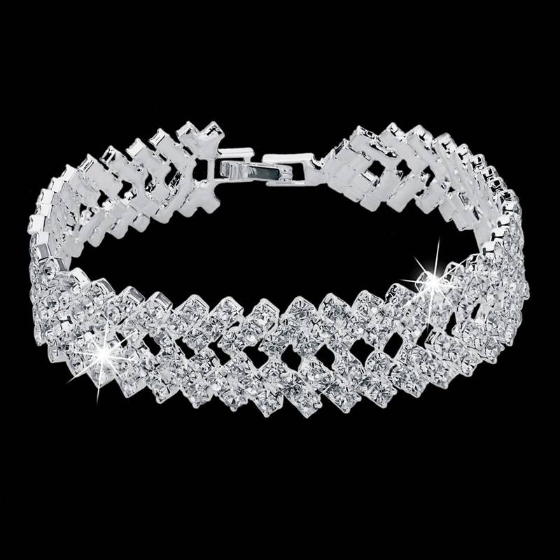 Luxury Crystal Bracelets For Women Silver color Bracelets & Bangles Femme Bridal Wedding Jewelry 2018 Vintage Bracelet Bracelets Wedding & Engagement Jewelry