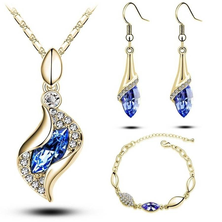 Gifts Sales MODA Elegant Luxury Design New Fashion Gold Filled Colorful Austrian Crystal Drop Jewelry Sets Women Jewelry Set