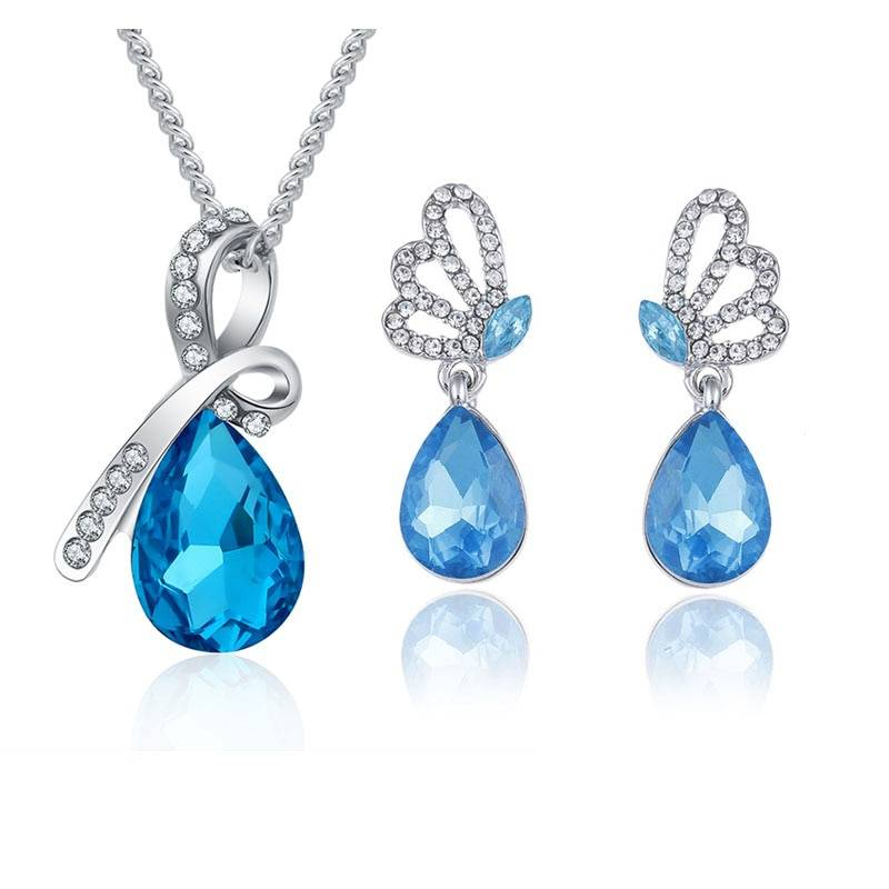 New Wholesale Austrian Crystal Jewelry Sets Water Drop Pendant Necklace Stud Earring Bracelet Silver Plated Jewellery Women Jewelry Set