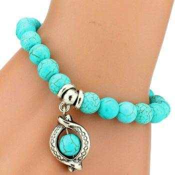 Boho Vintage Turquoises Bracelets for Women Men Cross Tree Snake Owl Hand Pendant Charm Bracelet Bangle Fashion Jewelry Bracelets