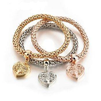 NEW Dainty Jewelry Life Tree Heart Bracelet & amp; Bangles Popcorn Chain Set Friendship Distance Bracelets Gift Bracelets