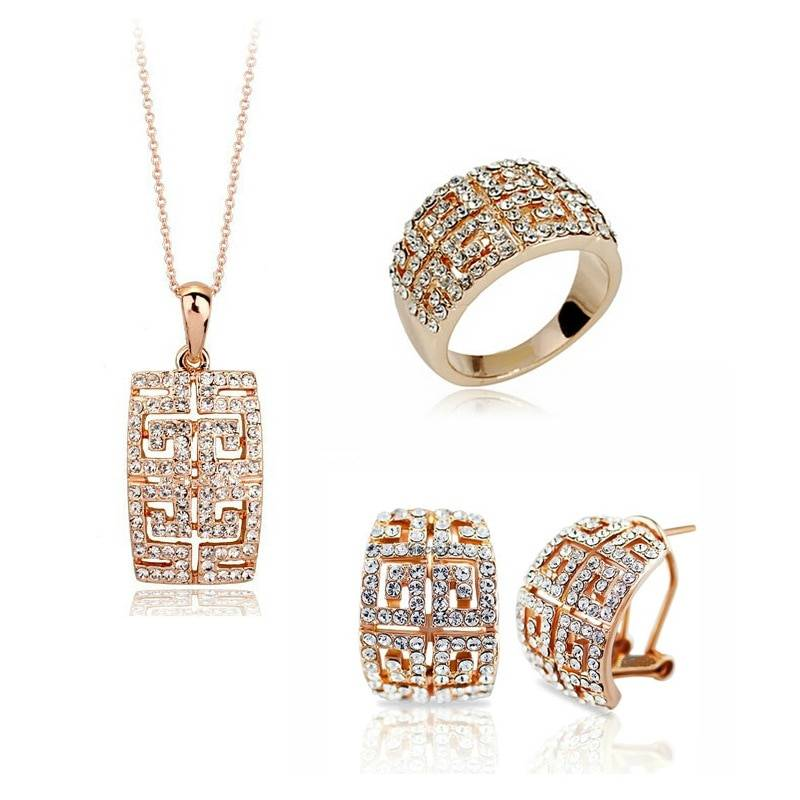 New Design Hot Sale gold-color Austria Crystal Jewelry Set For Women Jewelry Set