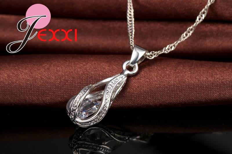 New Water Drop CZ Jewelry Sets 925 Sterling Silver Necklace&Earrings Wedding Jewelry For Women Wedding Party Sets Jewelry Set Wedding & Engagement Jewelry