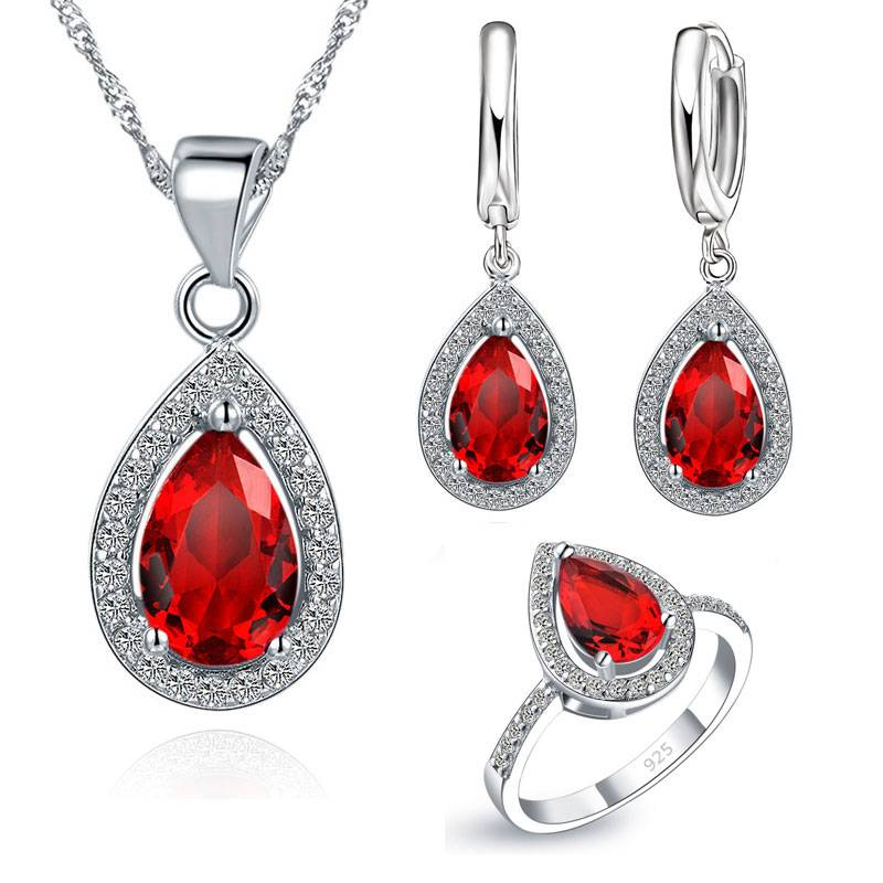 Jewelry Sets Water Drop Cubic Zirconia CZ Stone 925 Sterling Silver Earrings Necklaces Finger Rings Jewelry Set
