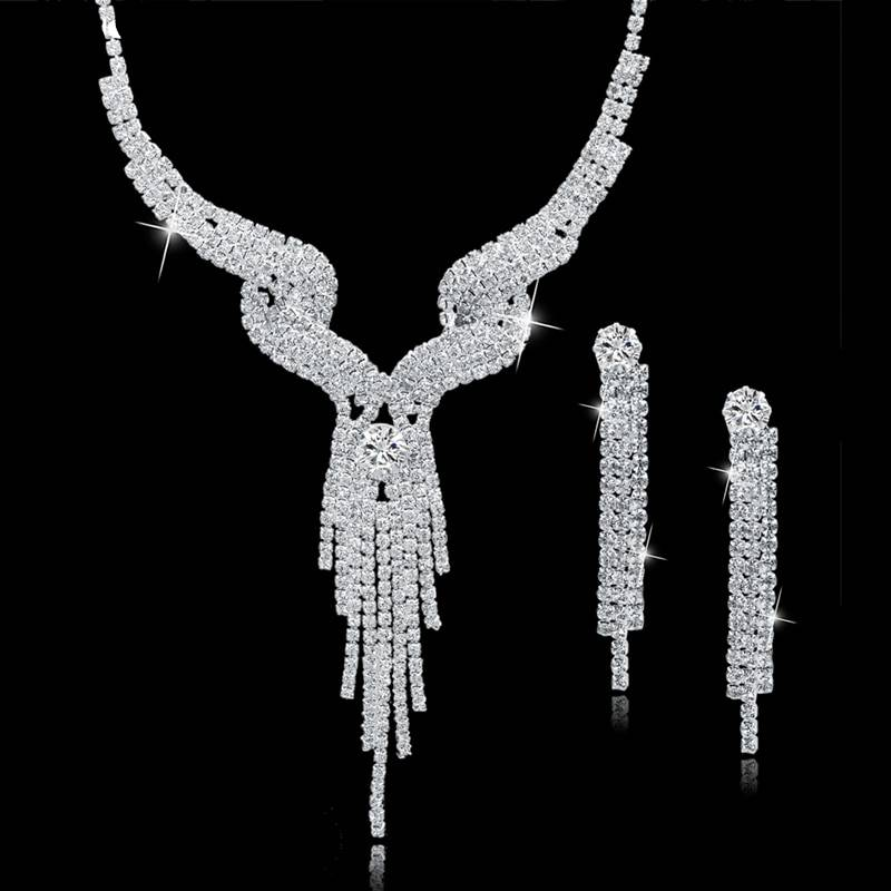 Wedding Jewellery Set Crystal Bridal Jewelry Sets For Women Long Tassel Statement Necklace/Earrings Set SET150011 Jewelry Set Wedding & Engagement Jewelry