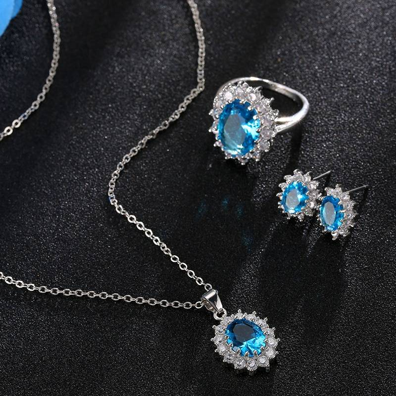 Fashion Blue Crystal Stone Wedding Jewelry Sets For Brides Silver Color Necklace Set For Women African Jewelry Sets & More Jewelry Set Wedding & Engagement Jewelry