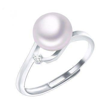 Baroque Only AAA Zircon Decoration Pearl Ring Fine Jewelry of Silver Freshwater Pearl Rings 925 Sterling Silver Rings for Women Rings Wedding & Engagement Jewelry