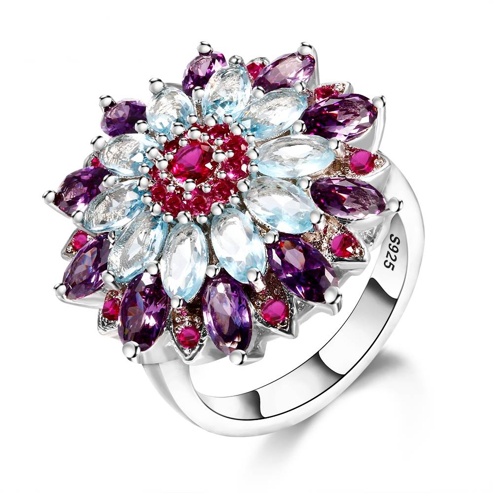 Multicolor Gemstone Flower Shape Wedding Ring New Design 2018 Silver 925 Jewelry Rings For Women Top Quality Wholesale Jewelry Rings Wedding & Engagement Jewelry