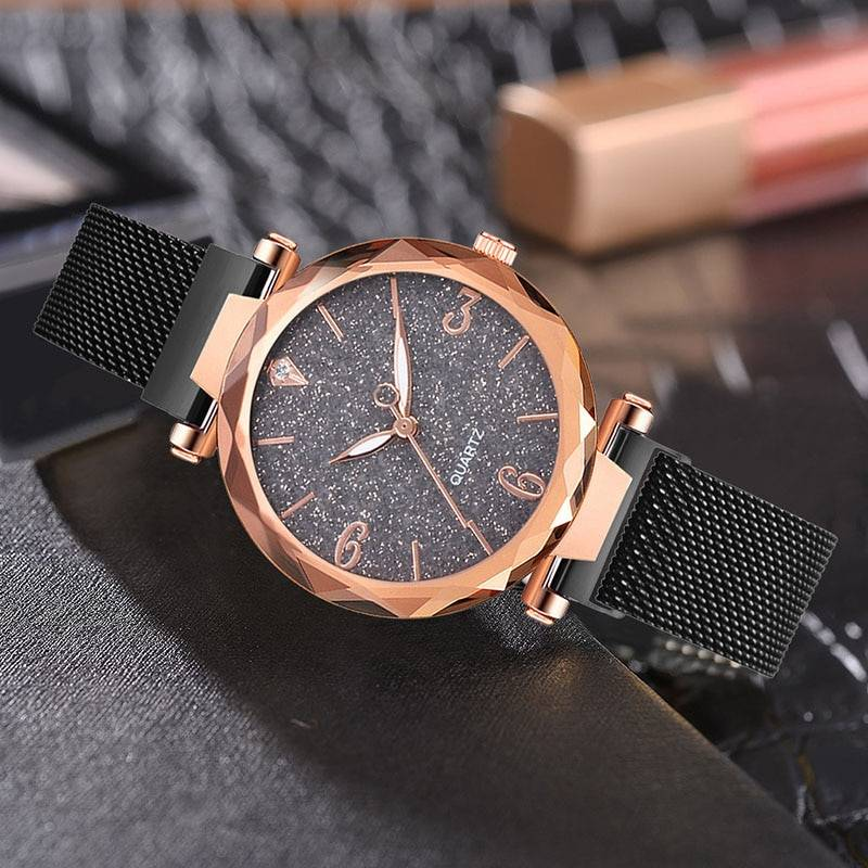 Rose Gold Women Watch 2019 Top Brand Luxury Magnetic Starry Sky Lady Women's Watches