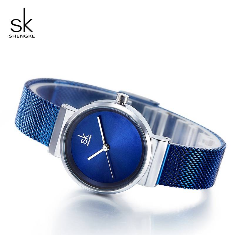 Shengke Luxury Stainless Steel Blue Watch Women Fashion Quartz Watch For Reloj Mujer 2018 SK Ladies Watches Christmas Gift Women's Watches