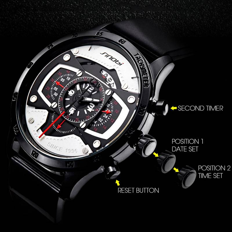 2019 Creative Design Men Watch Fashion Military Sports Chronograph Watches For Men Male Big Dial Clock relogio masculino Men's Watches