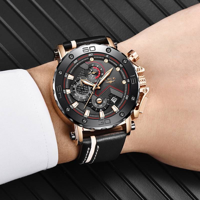 2019 LIGE New Fashion Mens Watches Top Brand Luxury Big Dial Military Quartz Watch Leather Waterproof Sport Chronograph Watch Men Men's Watches