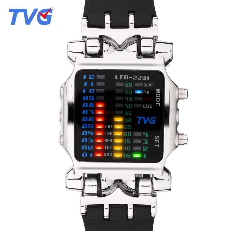 Luxury Brand TVG Watches Men Fashion Rubber Strap LED Digital Watch Men Waterproof Sports Military Watches Relogios Masculino Men's Watches
