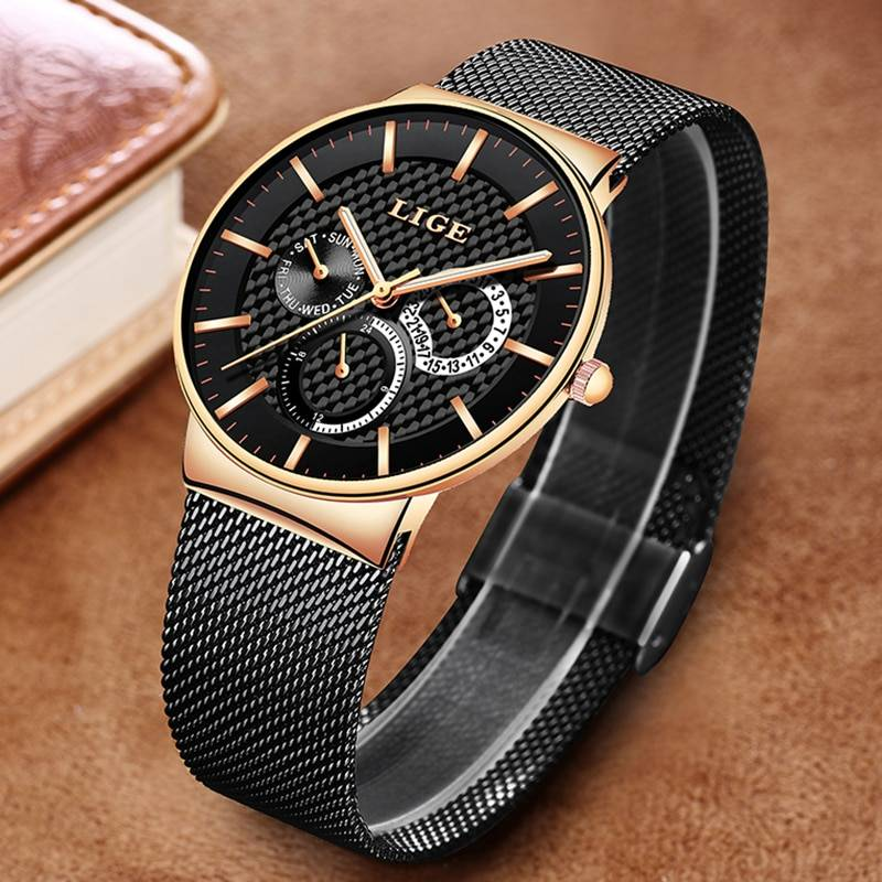 New Fashion Mens Watches Top Brand Luxury Quartz Watch Men Casual Slim Mesh Steel Waterproof Sports Watch Relogio Masculino Men's Watches