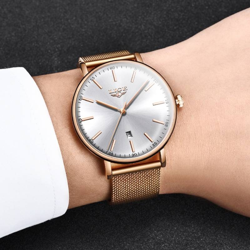 LIGE Womens Watches Top Brand Luxury Waterproof Watch Fashion Ladies Stainless Steel Ultra-Thin Casual Wristwatch Quartz Clock Women's Watches