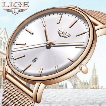 LIGE Womens Watches Top Brand Luxury Waterproof Watch Fashion Ladies Stainless Steel Ultra-Thin Casual Wristwatch Quartz Clock Women's Watches