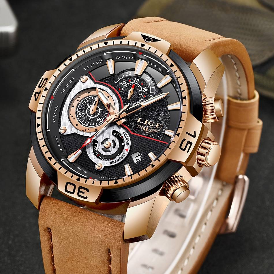 2019 LIGE Mens Watches Top Brand Luxury Casual Leather Quartz Clock Male Sport Waterproof Watch Gold Watch Men Relogio Masculino Men's Watches