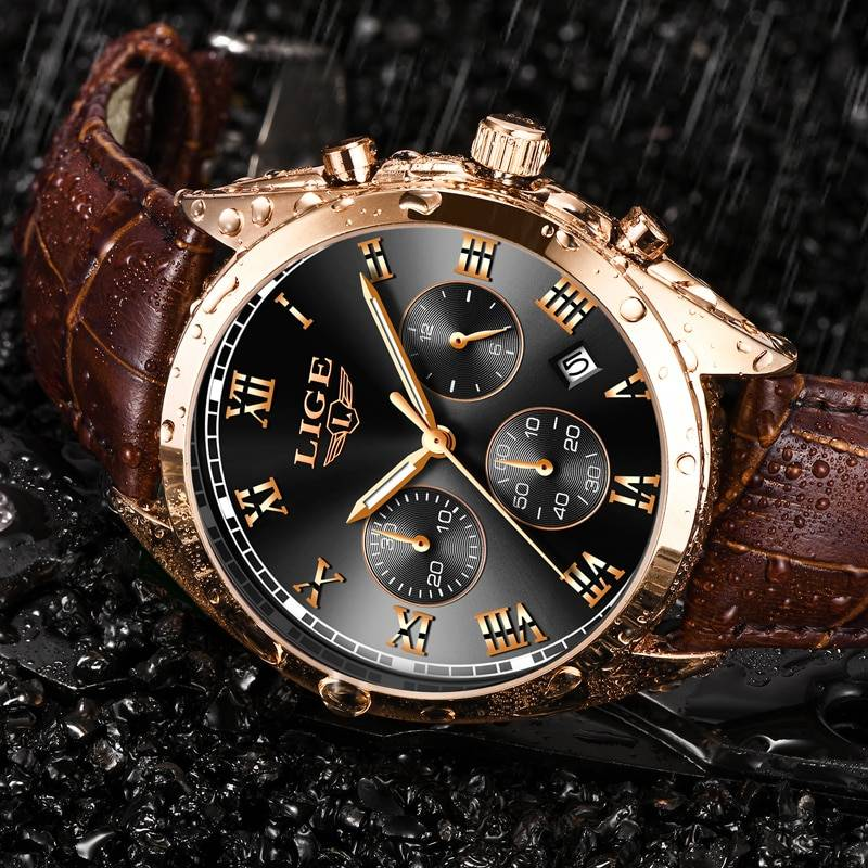 2019 LIGE Mens Watches Top Brand Luxury Waterproof 24 Hour Date Quartz Clock Male Leather Sport Wrist Watch Relogio Masculino Men's Watches