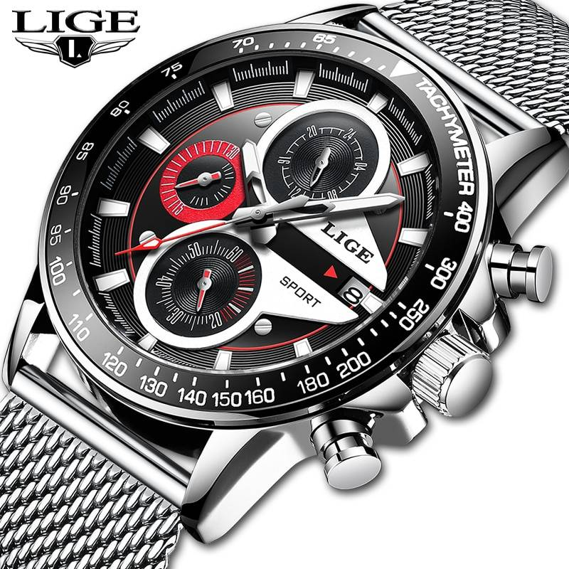 LIGE Fashion Men Watches Male Creative Business Chronograph Quartz Clock Stainless Steel Waterproof Watch Men Relogio Masculino Men's Watches