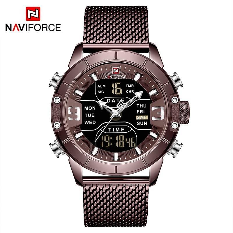 NAVIFORCE Analog Digital Watches Men Luxury Brand Stainless Steel Sports Men's Watches Digital Waterproof Man Watch 2019 Sport Men's Watches