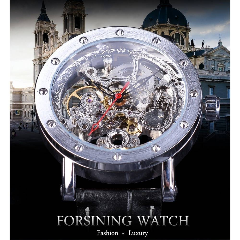 Forsining Silver Skeleton Wristwatches Black Red Pointer Black Genuine Leather Belt Automatic Watches for Men Transparent Watch Men's Watches