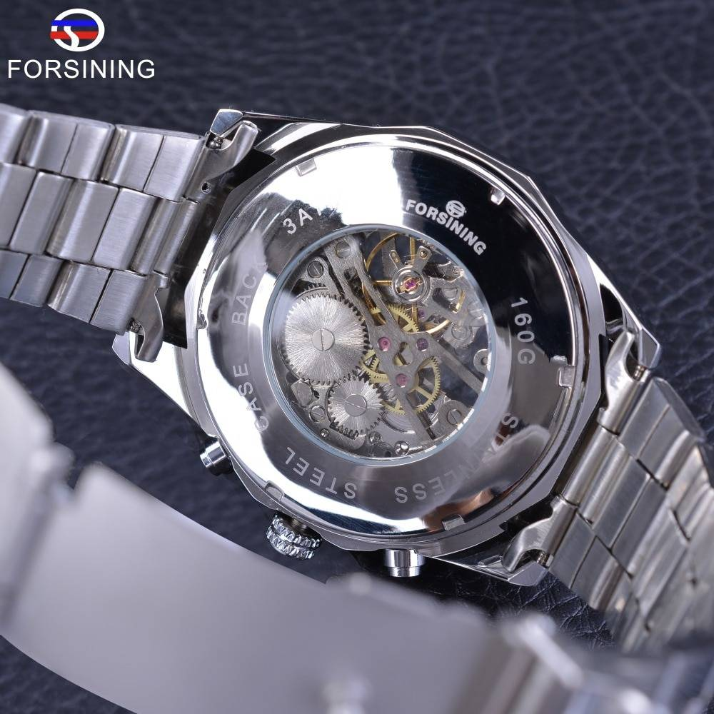 Forsining 2017 Silver Stainless Steel Waterproof Mens Skeleton Watches Top Brand Luxury Transparent Mechanical Male Wrist Watch Men's Watches
