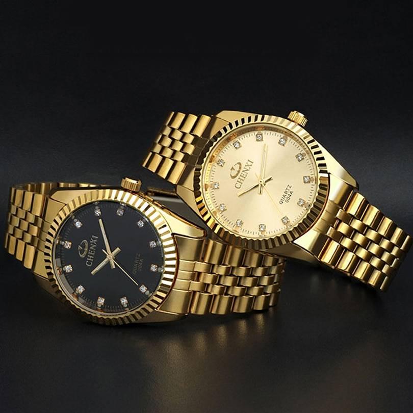 Golden New Clock gold Fashion Men watch full gold Stainless Steel Quartz watches Men's Watches