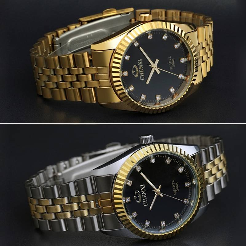 Golden New Clock gold Fashion Men watch full gold Stainless Steel Quartz watches Men's Watches