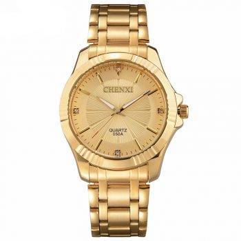 Top Quality Clock Fashion Men Luxury CHENXI Brand Gold Stainless Steel Quartz Men's Watches