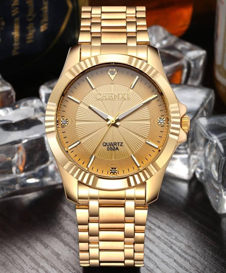 Top Quality Clock Fashion Men Luxury CHENXI Brand Gold Stainless Steel Quartz Men's Watches