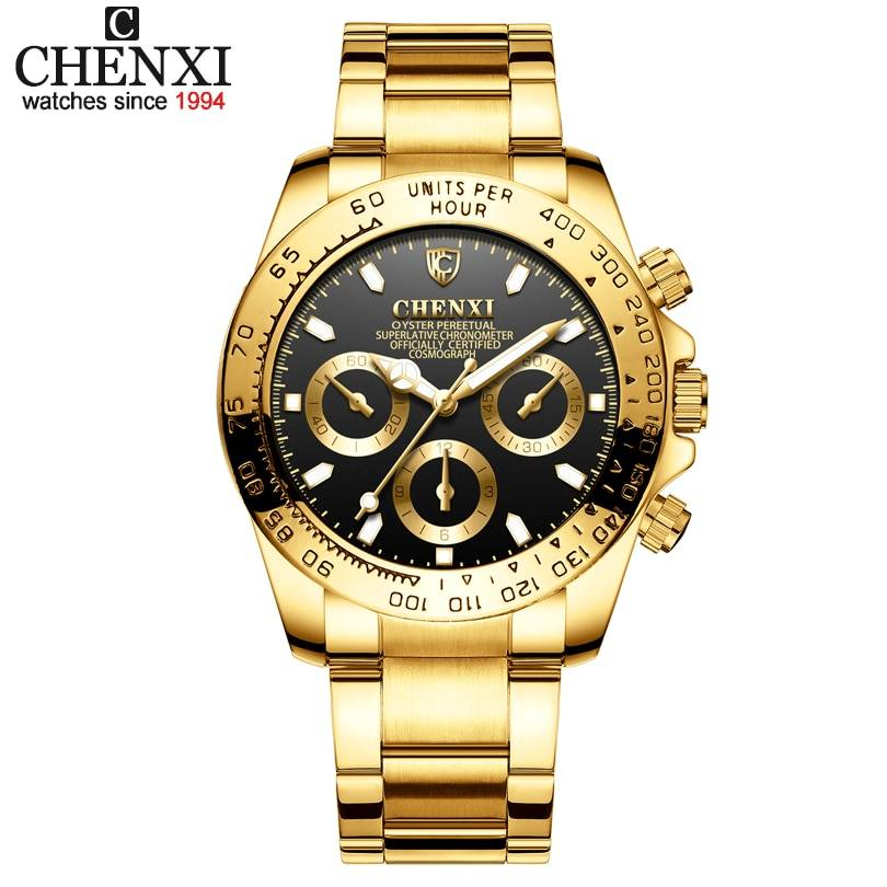 Men Golden Luxury Watches Brand 2019 New Fashion Simple Analog Quartz Wrist Watches Stainless Steel Band Watch Relogio Men's Watches