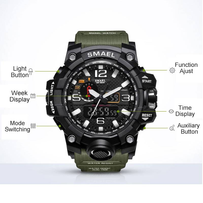 Brand Men Sports Watches Dual Display Analog Digital LED Electronic Quartz Wristwatches Waterproof Swimming Military Watch Men's Watches