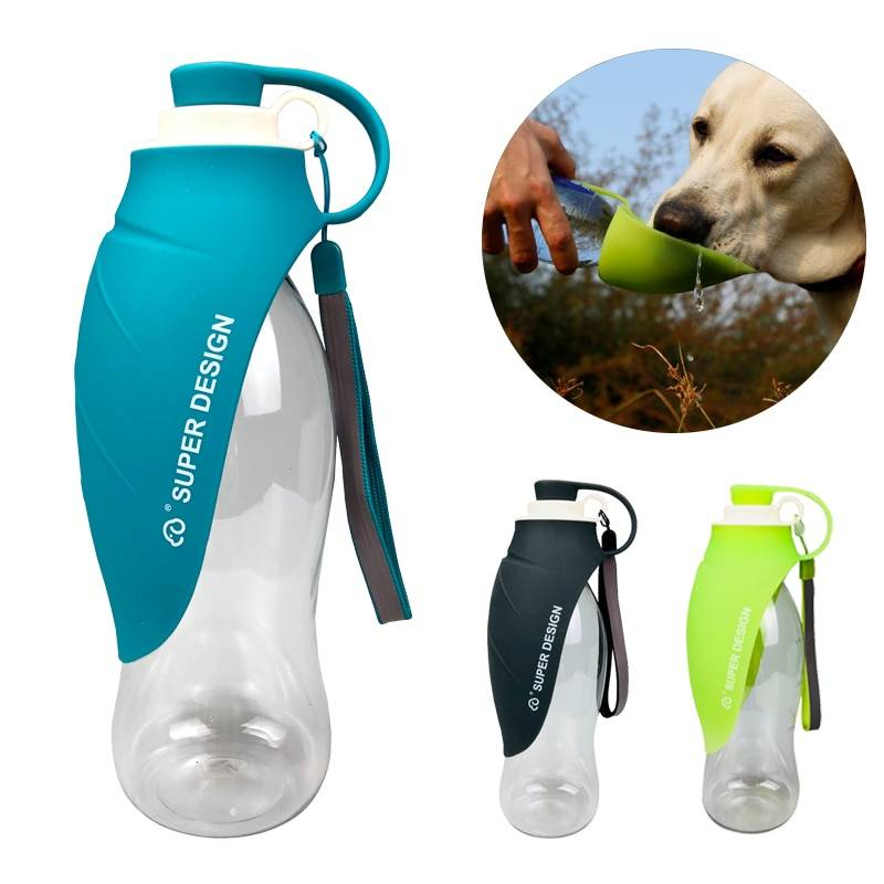 580ml Portable Pet Dog Water Bottle Soft Silicone Leaf Design Travel Dog Bowl For Puppy Cat Drinking Outdoor Pet Water Dispenser Cat's Accessories Dog's Accessories