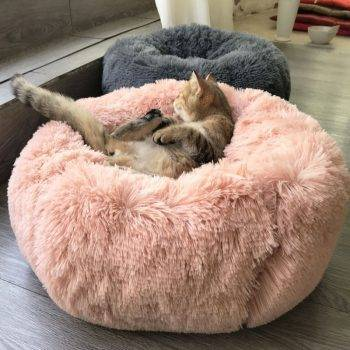 Round Dog Bed Washable long plush Dog Kennel Cat House Super Soft Cotton Mats Sofa For Dog Chihuahua Dog Basket pet bed Cat's Accessories Dog's Accessories