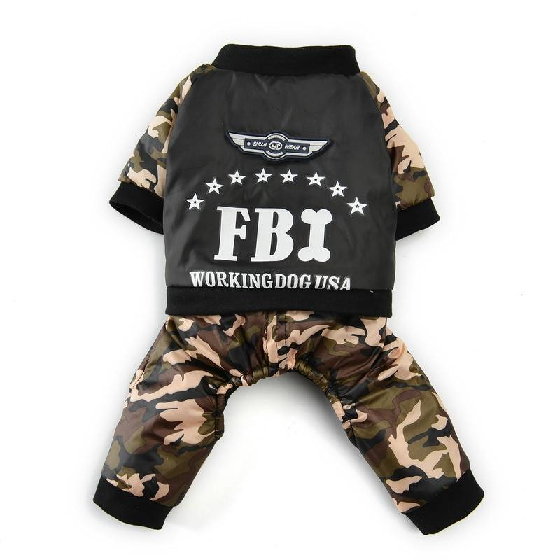 Winter Pet Clothes for Dogs Cool FBI Dog Clothes Warm Fleece Chihuahua French Bulldog Coats Puppy Jackt Jumpsuit Pets Clothing Dog's Accessories